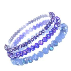 Jewelry - Blue Glass Beaded Stacking Bracelets